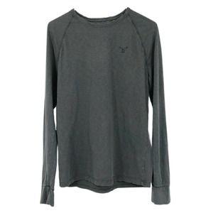 American Eagle Tee Shirt Raglan Long Sleeve Gray S